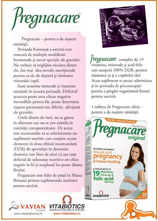 Pregnacare - pentru a da nastere sanatatii:  complex de 19 vitamine, minerale si acid folic care acopera 100% DZR, pt sanatatea mamei si a viitorului ei copil!  Pregnacare este un supliment nutritiv ce contine cantitati echilibrate de vitamine, minerale si acid folic, doza recomandata de specialistii in domeniu.  Acest supliment se poate administra si in perioada de preconceptie pentru a pregati organismul femeii pentru sarcina.