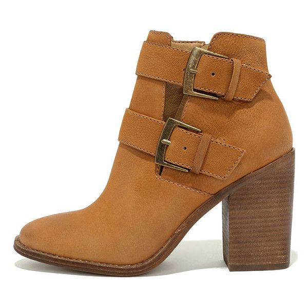Steve Madden Trevur Cognac Leather High Heel Booties ($139) ❤ liked on Polyvore featuring shoes, boots, ankle booties, brown, cut-out booties, high heel booties, cognac booties, brown boots and steve madden boots