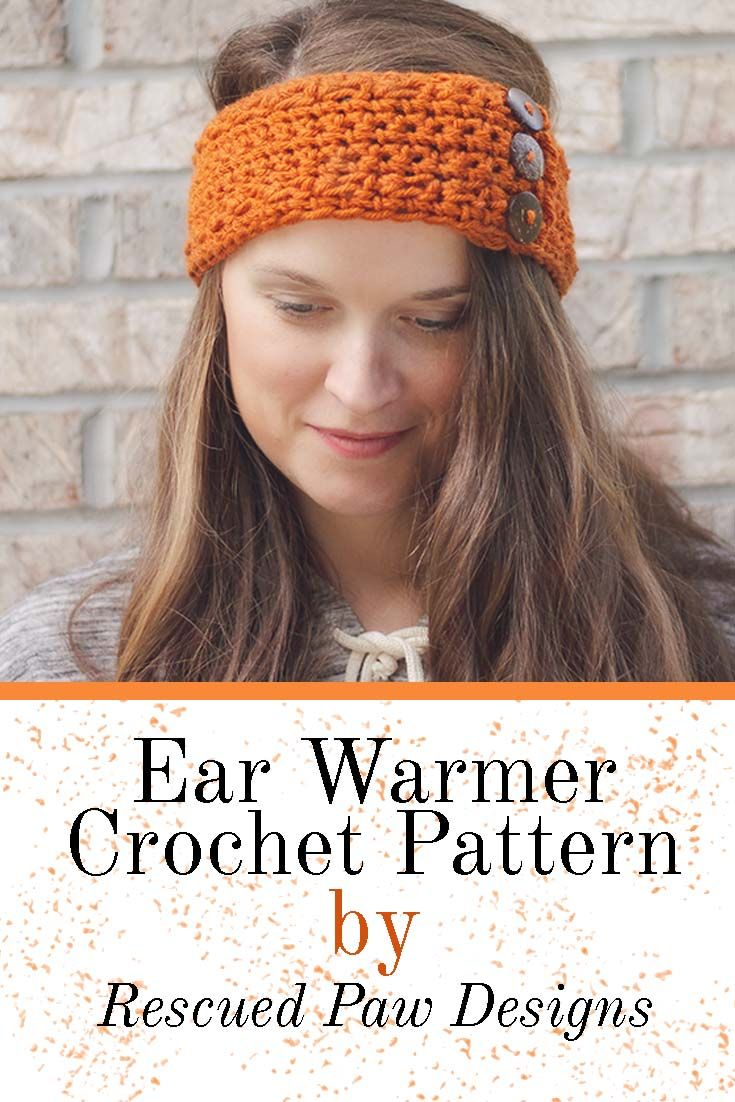 Pumpkin Latte Crochet Ear Warmer by Rescued Paw Designs. Click to Read or Pin and Save for Later! www.rescuedpawdesigns.com