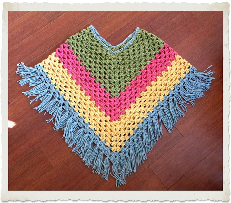 granny square poncho - The Frugal Crafter