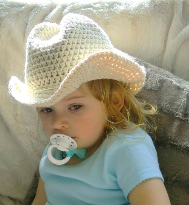 Handmade Crochet Pure Cotton Baby or Toddler Cowboy Hat @Brooke Norlin you should learn how to make this!!!