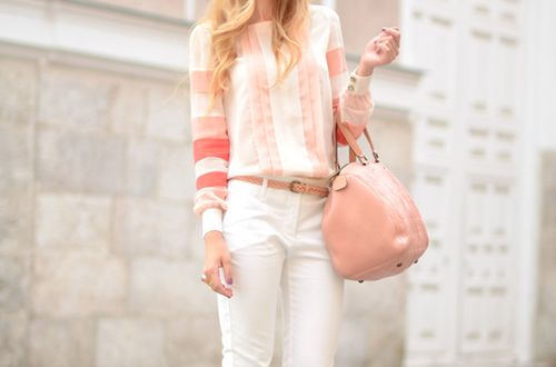 LOVE this outfit: Blouses, Coral, Soft Pink, Pastel Pink, Pale Pink, Blushes, Pastel Colors, Casual Outfits, Summer Colors