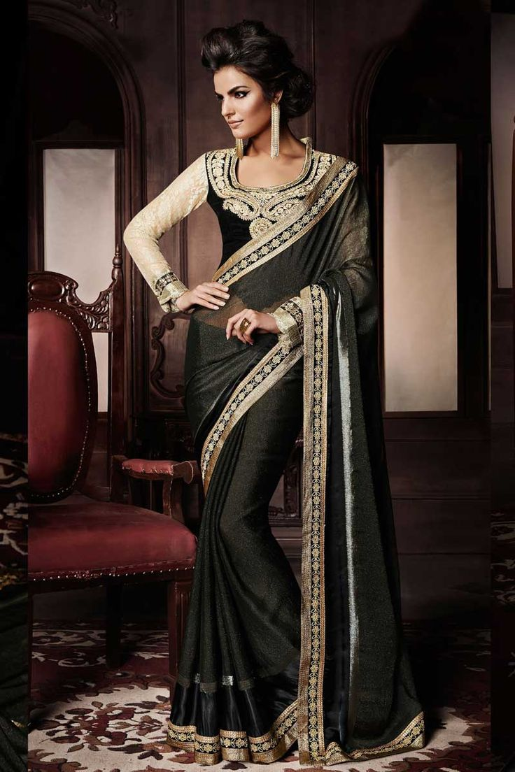 Black Satin Viscose Saree with Velvet Blouse Prix:-119,84 € Designer Saree Collection now in store presented by Andaaz Fashion like Black Satin Viscose Saree with Velvet Blouse. The dress is embellished with Embroidered, Hand, Zari, U Neck Blouse, Full Sleeve, and with Designer Pallu. This dress is prefect for Party, Wedding, Festival, Ceremonial http://www.andaazfashion.fr/black-satin-viscose-saree-with-velvet-blouse-dmv7704.html