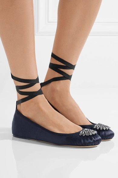 Jimmy Choo,Concealed wedge heel measures approximately 10mm/ 0.5 inches Navy satin Ties at ankle Made in Italy