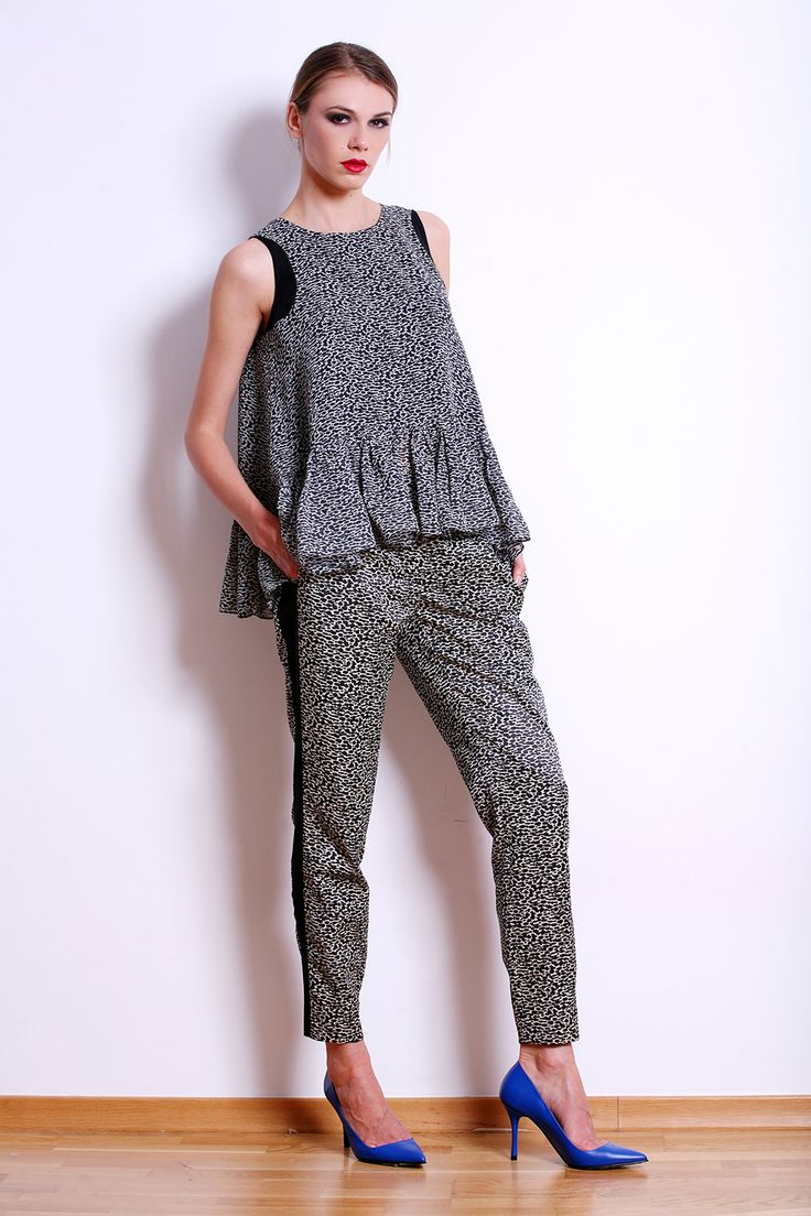 Animal print outfit : oversized tank top and slim cut pants