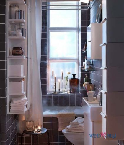 Tiny bathroom inspiration.. great storage for such a small space  That bath is calling my name!
