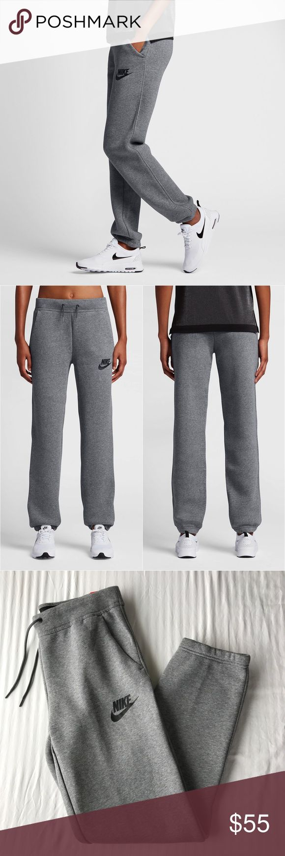 Nike Grey Relaxed Sweatpants •The Nike Rally Women's Sweatpants feature soft fleece fabric in a relaxed silhouette and for exceptional comfort. 63% cotton/19% polyester/18% rayon.  •Size Medium, relaxed fit.  Will also fit a Large if you want a more fitted look.  •New with tag.   •NO TRADES/HOLDS/PAYPAL/MERC/VINTED/NONSENSE. Nike Pants Track Pants & Joggers