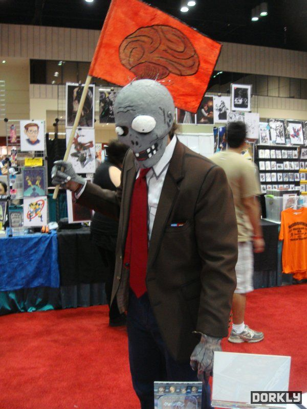 Plants vs. Zombies Flag Bearer Zombie Cosplay.  I really think we should do these as a family for Halloween and Archon!  :D