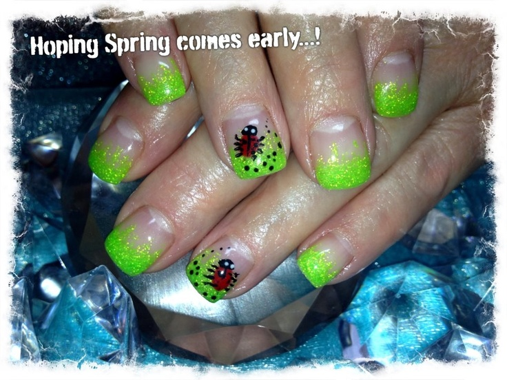 Neon green sparkle tips with ladybug. Hand-painted nail art. Sculpted gel nails  www.facebook.com/LizellesGelNails