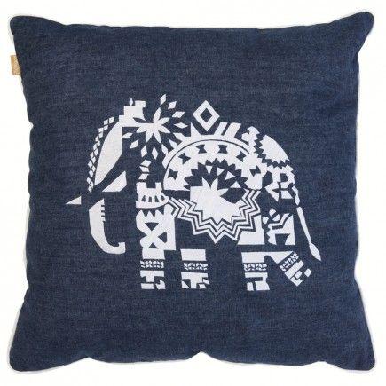 kussen 70 x 70 cm sierkussen denim jeans donkerblauw wit olifant dier geborduurd borduursel