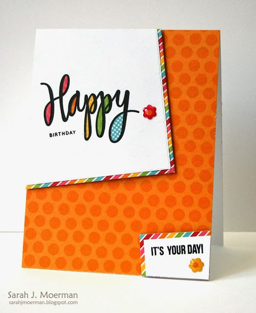 Fun birthday card by Sarah Moerman using the June 2015 card kit by Simon Says Stamp.
