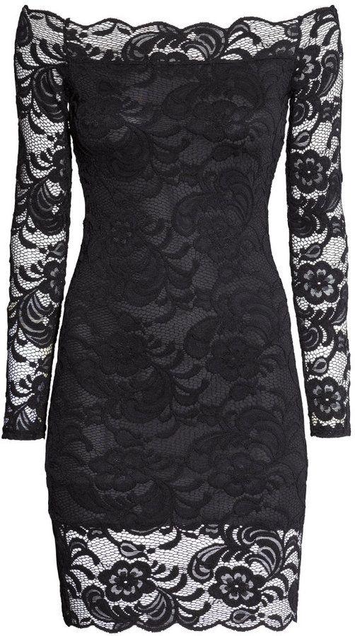 H&M - Off-the-shoulder Lace Dress - Black - Ladies