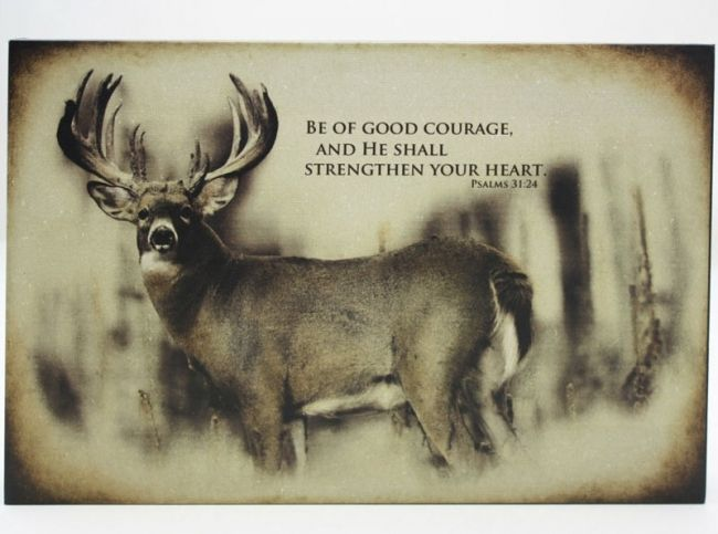 "Deer ""Be Of Good Courage"" Wall ArtFor $19.99"