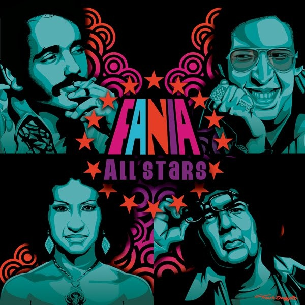 The Fania All-Stars is a musical ensemble established in 1968 by the composer, Johnny Pacheco, as a showcase for the musicians on the record label Fania Records, the leading salsa record company of the time. Featured on this poster from top left to bottom right are Salsa Greats: Willie Colon, Hector Lavoe, Celia Cruz and Ray Barreto.