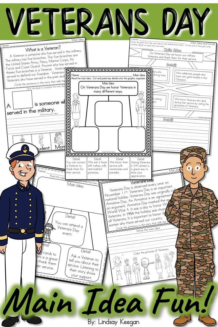 Veterans Day Main Idea And Details Activities Kindergarten Social Studies Fun Reading Activities Autumn Activities For Kids [ 1104 x 736 Pixel ]