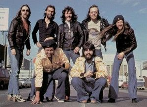The Doobie Brothers, circa 1976. Top (L to R); Jeff Baxter, Keith Kundsen, Tom Johnston, John Hartman & Patrick Simmons. Bottom (L to R); Tiran Porter & Michael McDonald.