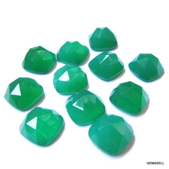 10 pieces 11mm Green onyx Rose cut Cushion Gemstone Green Onyx Rosecut Cushion GREEN ONYX Cushion Rosecut beautiful green color