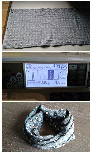 Tuto DIY couture : Le tour de cou/snood pour courir/faire son jogging ! Il est réalisé tout en jersey. Tuto gratuit en français. Cout : 3€