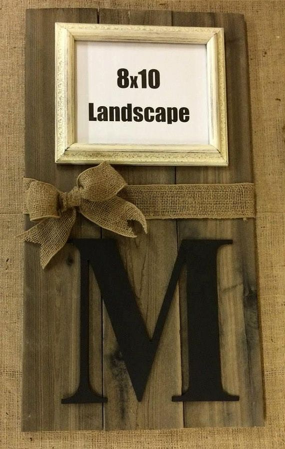 Monogram & Photo Frame Sign - Hand Made from Distressed,Western Red Cedar Wood