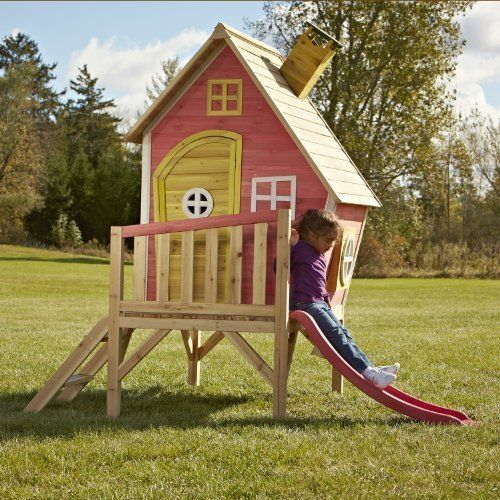 Outdoor Wooden Play House Large With Slide Hide Playground Center For Children #OutdoorWoodenPlayHouse