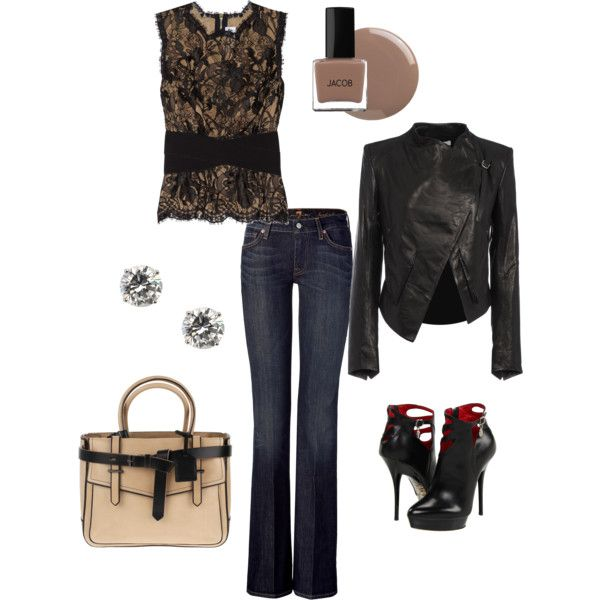 Leather & Lace, created by stylemyself.polyvore.com