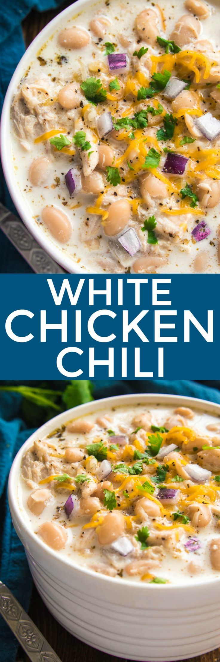 The BEST White Chicken Chili! If you love chili, you'll love this creamy, delicious twist! This recipe comes together quickly and is always a favorite - perfect for game days, weeknight dinners, and family gatherings. Make it with rotisserie chicken for an extra easy dinner, and top it with all your favorites for a delicious dish everyone will love! Whether you're a traditional chili fan or prefer white bean chili, you'll love the amazing flavor in this Creamy White Chicken Chili…