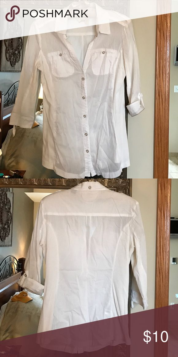 MNG BY MANGO blouse Size 10 White roll up sleeve(optional) with stretch sides. MNG by Mango Tops Button Down Shirts