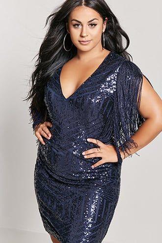 77c94782276 Plus Size Sequin Fringe Dress