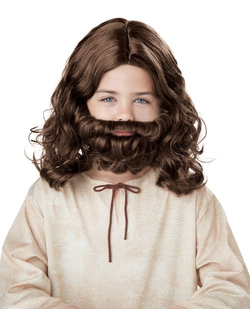Child Jesus Wig & Beard Set - This Jesus wig and beard set is brown and curly and is the perfect look for your little boy to put on!  Could be the perfect look to finish of a Halloween costume or for a church production. #jesus #yyc #costume #wig #kids