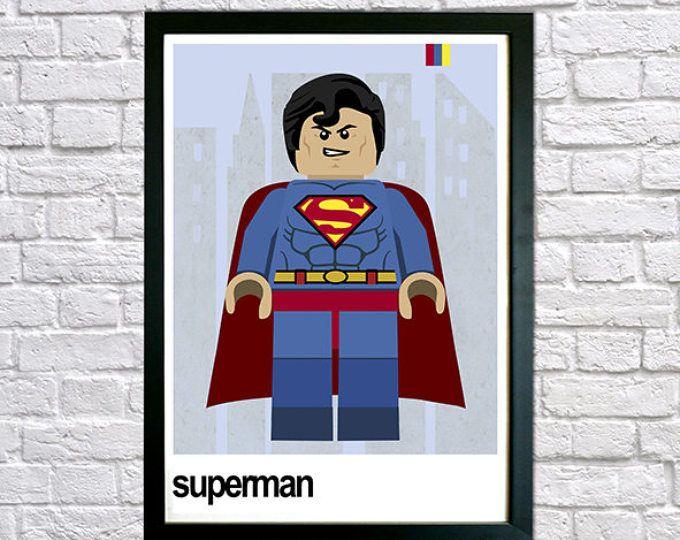 Superhero Print, Superman Framed Print, Superhero Wall Art, Boys Bedroom Art,  Nursery