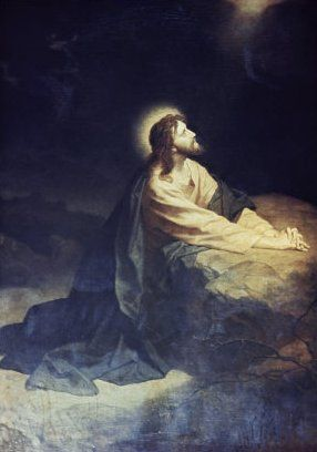 old art drawing of jesus praying by placing his hands on