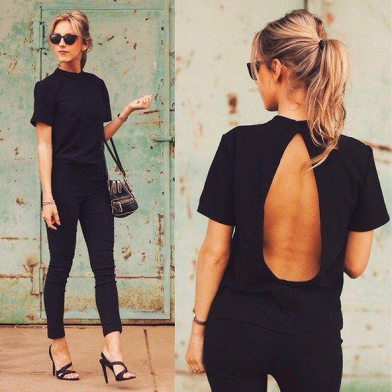 black look / pantalones negros, zapatos negros, blusa negra