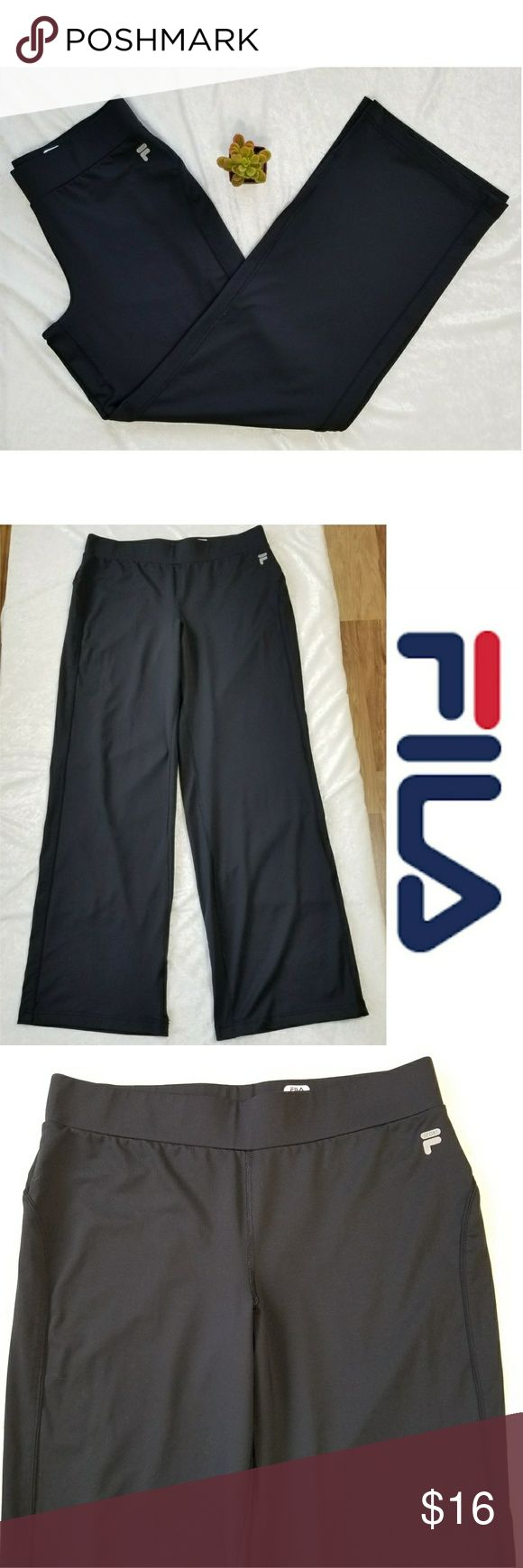 "EUC FILA Black Straight leg Workout Pants FILA Black Straight leg Workout Pants Approx.  Laid flat Measurements: Waist - 16"" Inseam - 31"" Details: - 88% polyester,  12% spandex  - smooth stretch jersey - flat seams help reduce chafing - straight leg opening  - elastic waistband  - in EXCELLENT pre-owned CONDITION.  No visible flaws or defects.  Smoke-free home. Feel free to ask. Fila Pants"