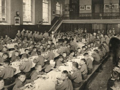 The interior of the orphanage would have been only marginally more cheerful. Below is a picture of the dining hall in the Alexandra Orphanage, Haverstock Hill, London.