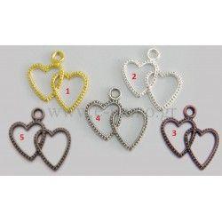 Διακοσμητικη Διπλή Καρδιά για Μπομπονιερά Διάσταση: 2,5cm x 2.2cm