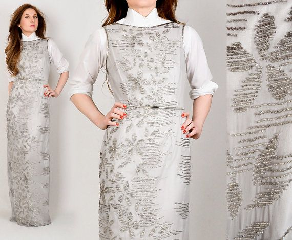 vintage SILK BEADED silver Maxi Dress S/M grey by TinRoofVintage, $125.00