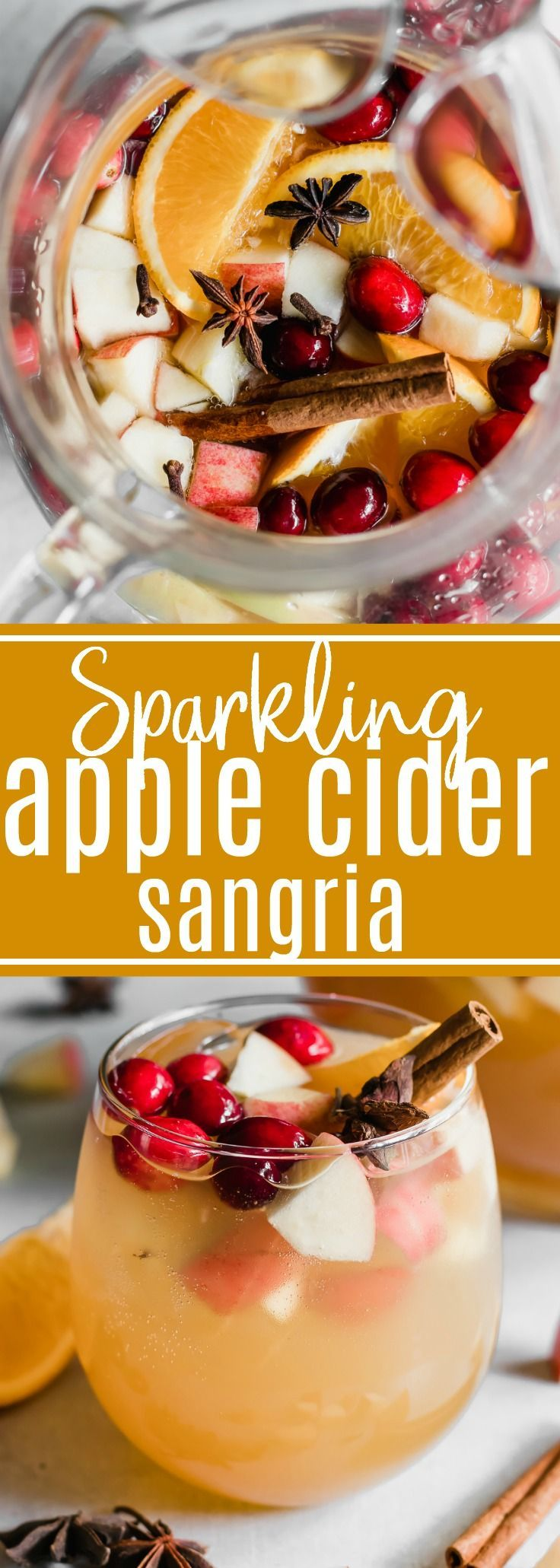 Sparkling Apple Cider Sangria. Sparkling Apple cider loaded up with chunks of apple, orange, cranberries, and all the best fall spices. No alcohol included makes this perfect for the entire family! #sangria #applecider #fall #drink