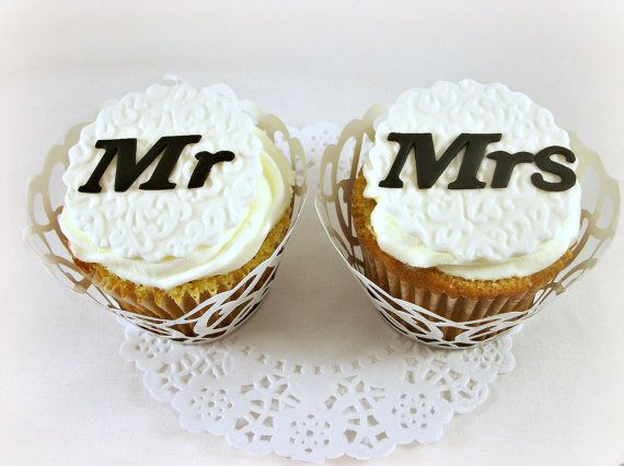 Wedding Fondant Cupcake Toppers Mr & Mrs Embossed by LenasCakes, $22.95