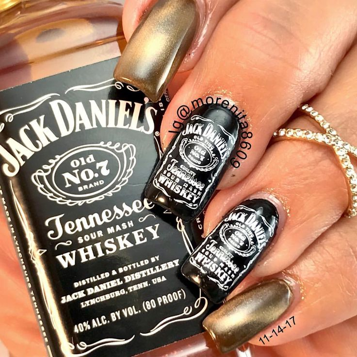 """I may not be rich but in half an hour it's not going to matter  Hey it's five o'clock somewhere …""  #nails #sexynails #nailstamping #nailart #jackdaniels #fallnails #whiskey #uñas #diseñodeuñas"