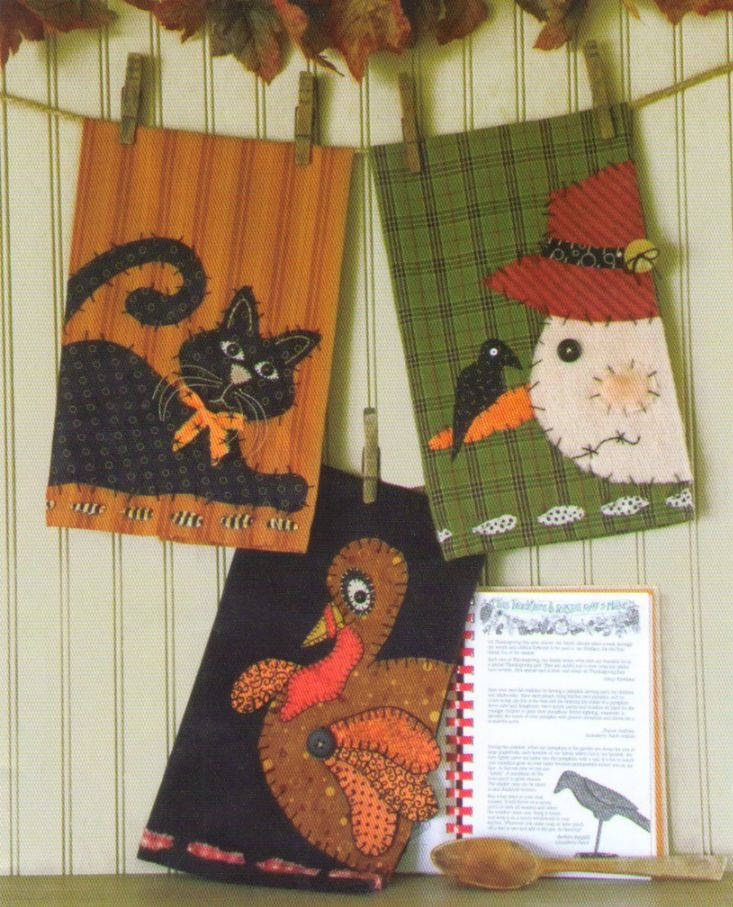 holiday applique stitchery tea towels patterns