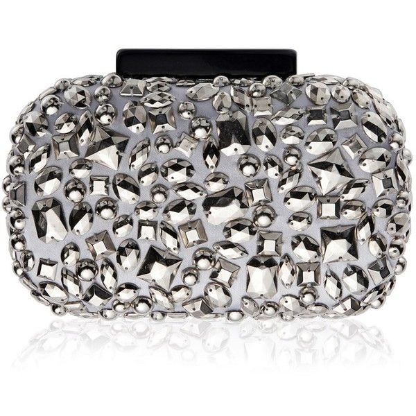 Vintage Styler Luna Embellished Metallic Clutch Bag (4.730 RUB) ❤ liked on Polyvore featuring bags, handbags, clutches, silver clutches, silver metallic handbag, silver handbag, silver purse and metallic purse