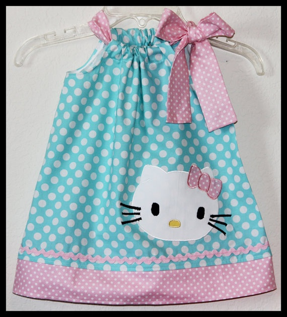 hello kitty polka dot applique dress pink aqua by jhello on etsy handarbeiten n hen. Black Bedroom Furniture Sets. Home Design Ideas