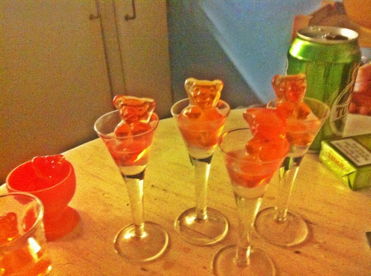 Welcoming shots....alcohol infused gummy bears...priceless