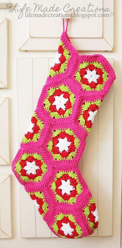 Crochet stocking made by Life Made Creations. Instructions in post.  I don't know how to crochet but this looks exactly like what I had (still have at my parents) growing up.