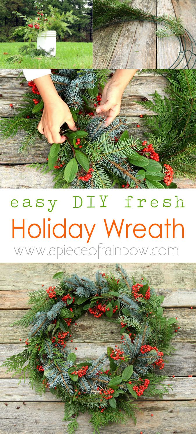 Make a beautiful Christmas wreath using fresh evergreen cuttings in 20 minutes! Looks great year round. Detailed tutorial and video! - A Piece Of Rainbow