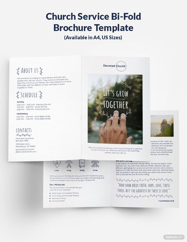 Church Service Bi Fold Brochure Template Free Publisher Illustrator Indesign Word Apple Pages Psd Template Net Bi Fold Brochure Brochure Template Free Brochure Template