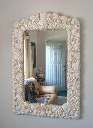 Espelhos com conchas do mar.  Decoração com conchas da praia.  Decoração de espelhos com conchas do mar, uma ótima dica para quem mora na pr...