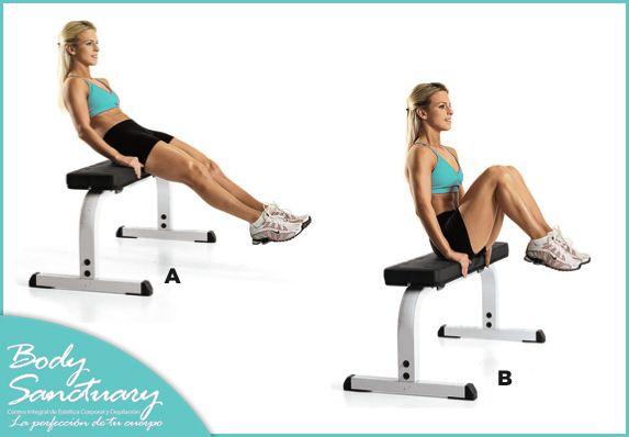 Para fortalecer tu abdomen siéntate en el borde de una silla o banco. Inclínate hacia atrás y estira las piernas hacia el frente y hacia abajo. Realiza la abdominal flexionado las rodillas y elevando lentamente las piernas hacia el pecho. Realiza 4 series de 12 repeticiones.Visita nuestra página y conoce nuestros tratamientos para modelar tu silueta: http://bodysanctuary.com.mx/liposuccion-ultrasonica/