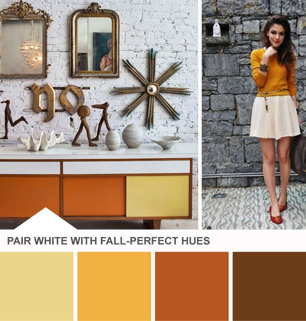 Yay for Fall colors! (http://blog.hgtv.com/design/2013/09/03/tuesday-huesday-white-after-labor-day/?soc=pinterest)Wall Art, Interiors Design Offices, Colors Combos, Buckingham Interiors, Offices Spaces, Vintage Wardrobe, Colors Schemes, Vintage Inspiration, Vintage Style