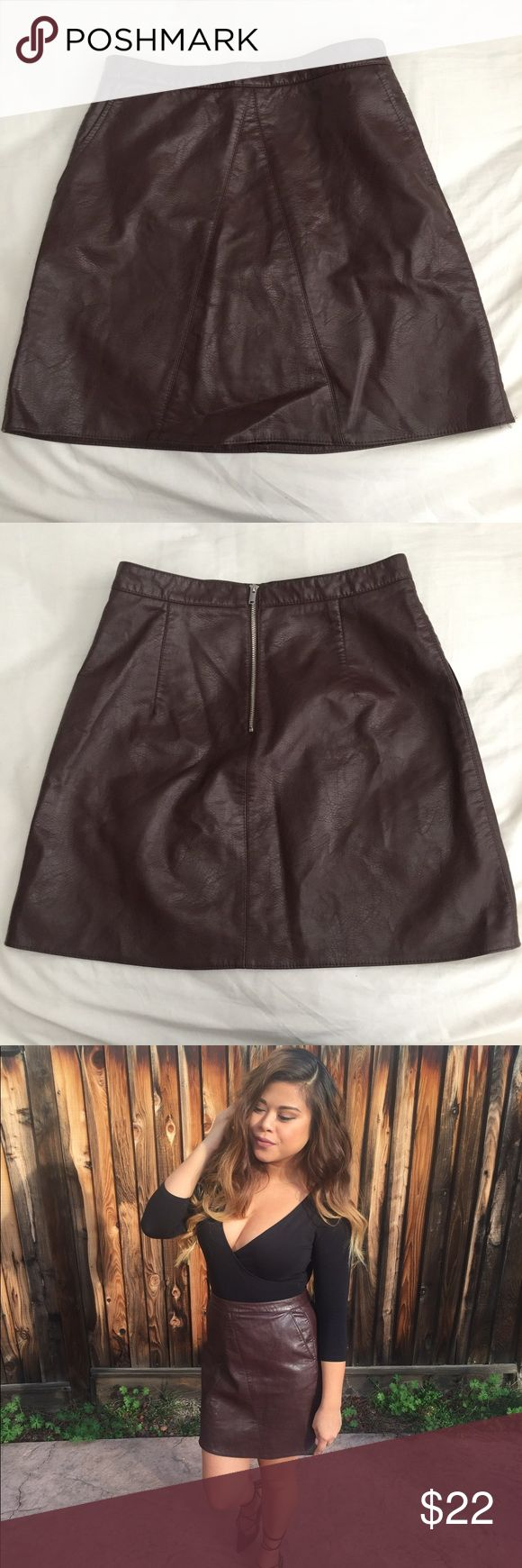 Burgundy faux leather skater skirt Size M fits a size 26-28 waist. Mini skirt length. Zara Skirts Mini